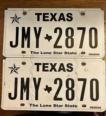 TEXAS WHITE LONE STAR  LICENSE PLATE    JMY-2870 Jimmy Jim James Pair Plates