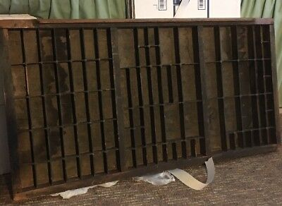 PRINTERS Full Size Wood TYPE CASE Or DRAWER Antique With Brass Corners