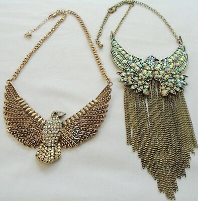 Two stunning large vintage gold metal & a.b crystal bird design necklaces