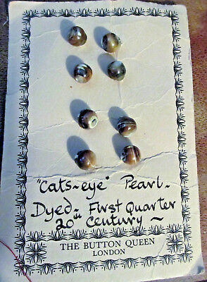 "8 VTG Antique Victorian ""Cats~Eye"" Pearl Dyed Small Round Buttons-Early 1900""s"