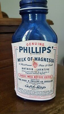 Vintage Colbalt Blue Genuine Phillips Milk Of Magnesia Glass Bottle With Label