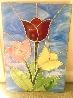 15 x 10 1/2 Stained Glass Tulips Window/Wall Hanging