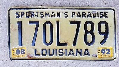 1978 88 92 Louisiana License Plate 170L789 170 L 789 with stickers