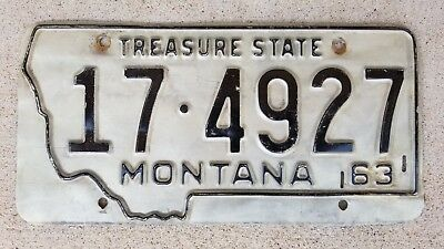 1963 Montana License Plate 17-4927 silver and black 174927