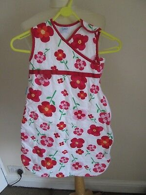 Girls Grobag Co 0-6 Months 2.5 Tog White / Red Flowers Lovely Good Cond