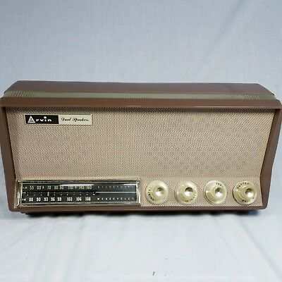 Vtg ARVIN Tube Table Radio 39R58 Taupe Brown AM FM Dual Speakers WORKS mostly