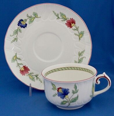 Persia by Villeroy & Boch Cup & Saucer Set Scalloped Red Trim