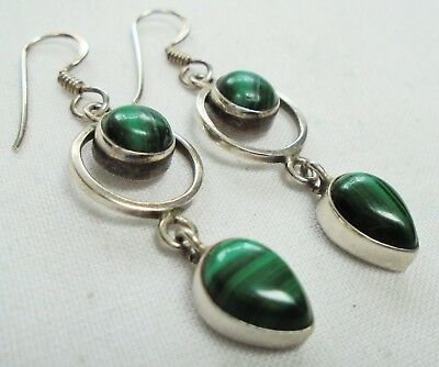 Pair fine quality vintage sterling silver & malachite pendant earrings