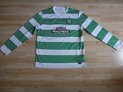 Mens White and Green Nike Celtic Home football shirt 2013 - 2015 Size L