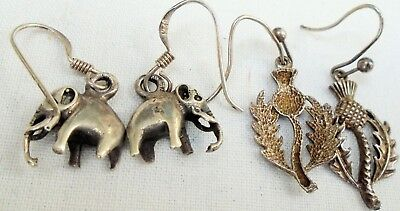 Two pairs good quality vintage sterling silver earrings (elephants, thistles)