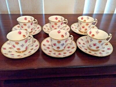 Service Of 6 Royal Chelsea Teacup & Saucer Floral Multi Colors On White Gold