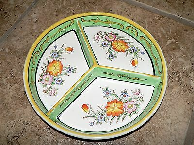 """Hand Painted Green Japanese Tray Flowers Three Sections Partioned 7.5"""" Diameter"""