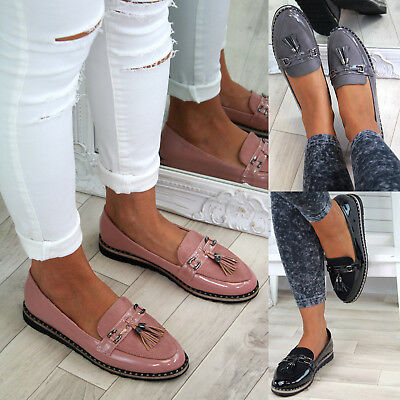 New Womens Flat Loafers Tassel Smart Comfy Slip On Pumps Casual Shoes Sizes 3-8