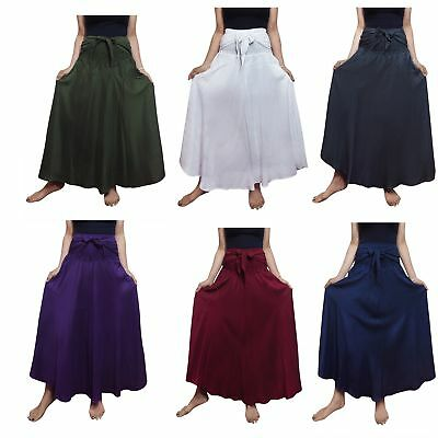 c559133206d4 Bohemian Boho Hippie Gypsy Maxi Summer Skirt Dress Solid Color - USA FAST  SHIP