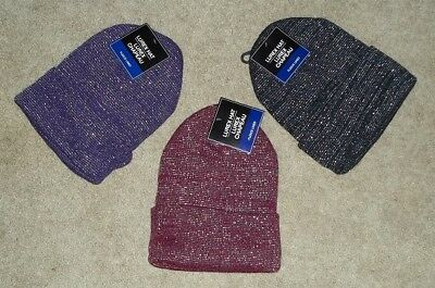 NEW Women's/Girls Fleece Lined Knit Hat Sparkles One Size  3 Colors NEW