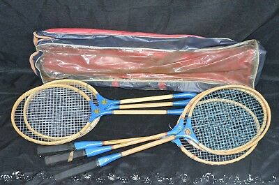 Vintage Wooden Badminton Racquet Mixed Set of (6) Made in JAPAN wall decor Used