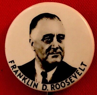 "1""political pin FDR PinBack FRANKLIN ROOSEVELT Button 1944 Campaign WWII Badge"