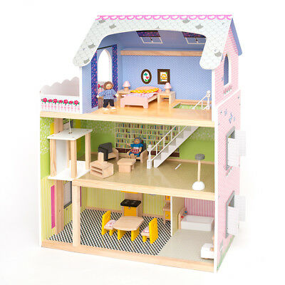 Large Kids Girls Tall Town Wooden Doll House & Furniture Fits Barbie Gift