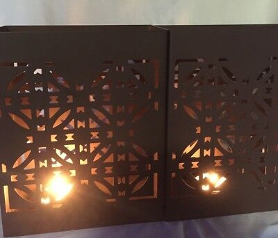 Set Of 2 Frank Lloyd Wright Brown Metal Luxfer Luminary Prism Candle Holders