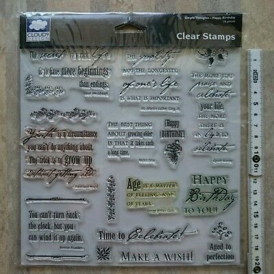 Stempel clear stamps cloud 9design (engl.Text Reise, happy birthday...