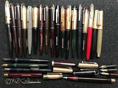 Lot of 18 Vntg Eversharp Lever Fill Fountain Pens - 22 14K nibs & various parts