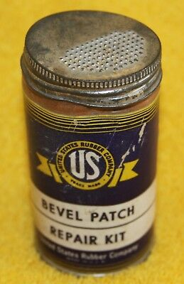 Vintage Us Rubber Company Bevel Tube Patch Repair Kit With Contents