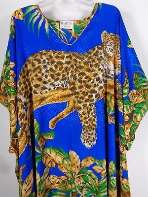 Vtg 1980's Mary McFadden Caftan Hostess Robe Blue Leopard Print One Size