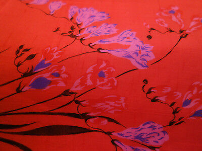 4 yds HAND WOVEN THAI SILK FABRIC - RED W/SCREENED PINK LAVENDER FREESIA FLOWERS