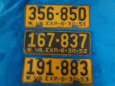 1951, 1952, 1953 West Virginia License Plate lot of 3  original Condition