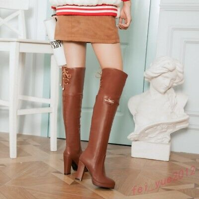 Women's Lace up Side Zip Over Knee High Boots Shoes Biker Knight Thigh Boot Shoe