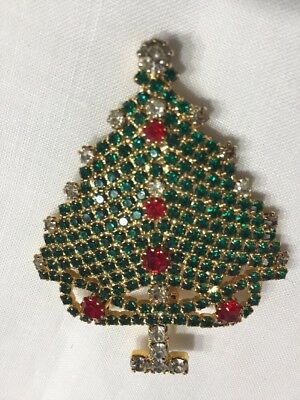 Vtg Holiday Christmas Tree Pin Pave' Green  Rhinestones Red Clear Accents