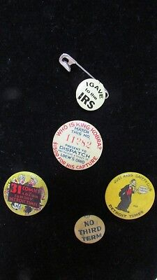 Button Lot Pins  Detroit Times, Just Kids Safety Club, 31 Comics, No Third Term