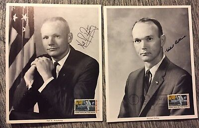 1969 Moon Landing Neil Armstrong Michael Collins Signed Photos W/ Moon Stamp