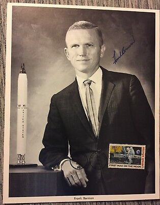 1969 Astronaut FRANK BORMAN SIGNED PHOTO W/ MOON STAMP