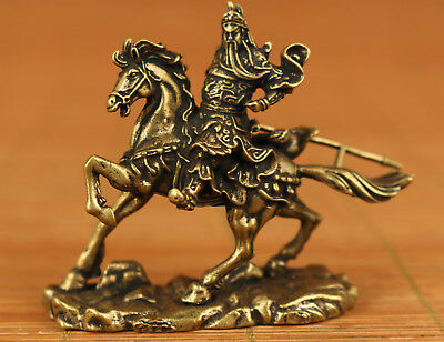 Valuable Rare Copper bronze chinese old Hand Carved Guanyu Ststue Collectable