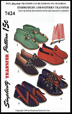 Felt SLIPPER Shoe Boot Slippers Fabric Sewing Pattern SIMPLICITY # 7424 Vintage
