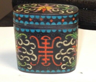 Rare 19Th Century Bronze Cloisonne Black Enamel Small Opium Canister Jar Box