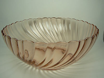 "Arcoroc 9"" Rosaline Pink Depression Glass Bowl France - Excellent!"