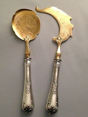 Magnificent Antique silver plate French Serpette A Glace Ice Cream serving set