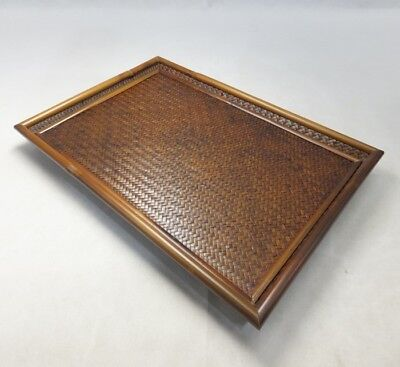 E972: Japanese tray of bamboo with wickerwork weave of wonderful work for SENCHA