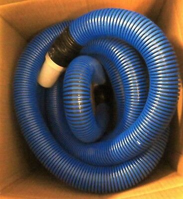 "28' Industrial Commercial Janitorial Flex Vacuum Hose Blue 1.5"" w/ Cuffs 18503"
