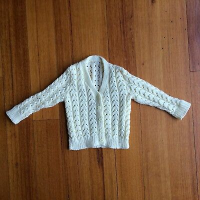 Hand knitted Cream Cardigan 00 (3-6 Months)