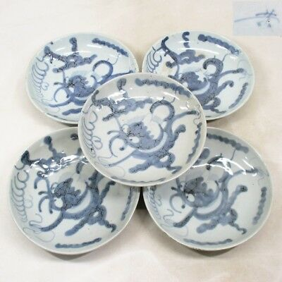 F074: Real old Chinese blue-and-white porcelain five plates of Ming dynasty GOSU