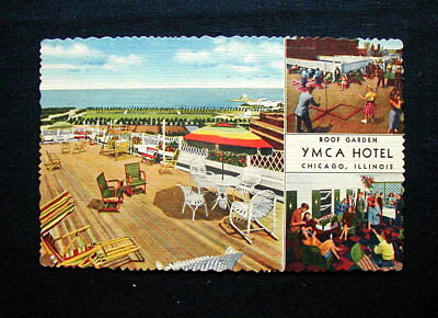 1957 Italy RARE YMCA used postcard CHICAGO Ymca Hotel
