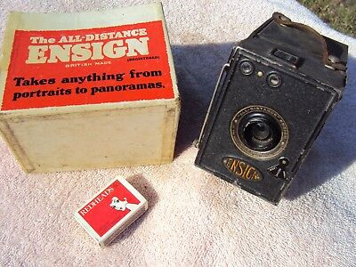 """ENSIGN """"ALL-DISTANCE"""" VINTAGE BOX CAMERA 1930s WITH BOX (NO LID) BRITISH"""
