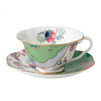 Wedgewood Teacup And Saucer Butterfly Bloom Green