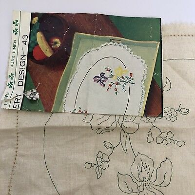 Vintage Semco Centre, Unworked For Embroidery Design 43 Pure Linen