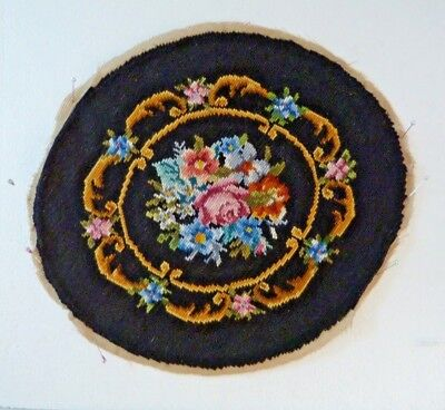 "Vintage Needlepoint,floral Round 15"", Wool"