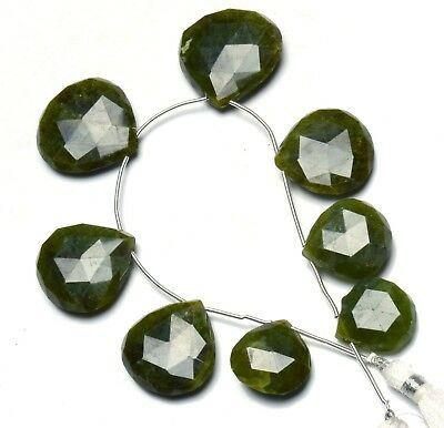 "Natural Gem Serpentine Faceted 17 to 25MM Heart Shape Briolette Beads 8"" Strand"