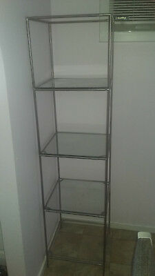 Steel Tower Display Stand with Clear Glass Shelves